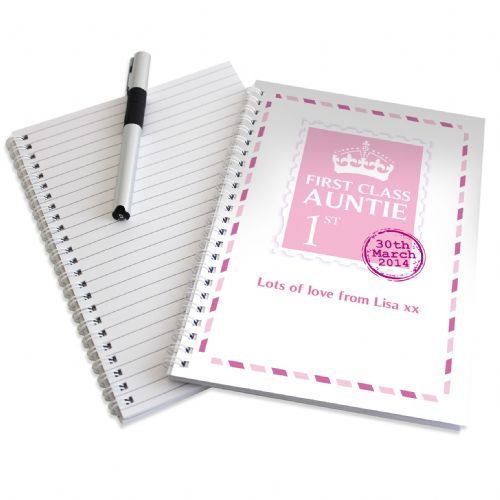 Personalised Pink 1st Class A5 Notebook
